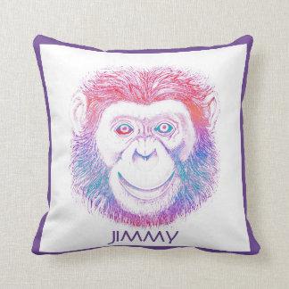 Psychedelic Chimpanzee Throw Pillow