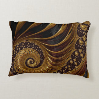 Psychedelic Chocolate Fractal Decorative Pillow