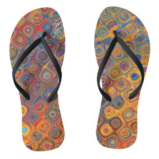 Psychedelic Circles Flip Flops