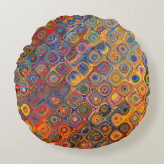 Psychedelic Circles Round Pillow