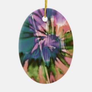 Psychedelic colorful cello ceramic oval ornament