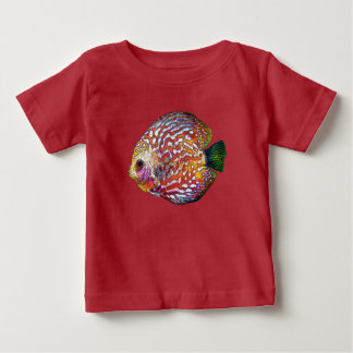 Psychedelic Colorful Exotic Discus Fish Drawing Baby T-Shirt