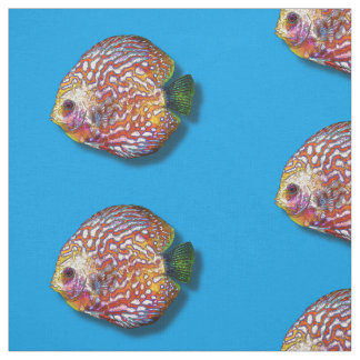 Psychedelic Colorful Exotic Discus Fish Drawing Fabric