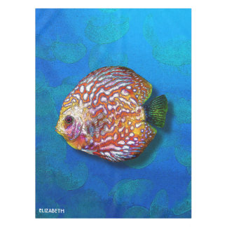 Psychedelic Colorful Exotic Discus Fish Drawing Tablecloth