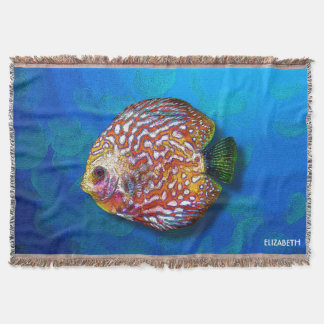 Psychedelic Colorful Exotic Discus Fish Drawing Throw Blanket