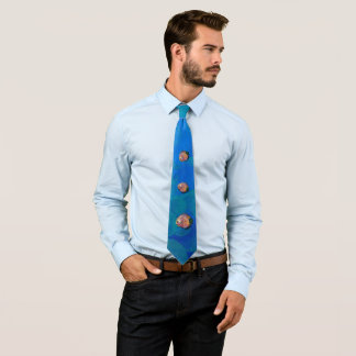 Psychedelic Colorful Exotic Discus Fish Drawing Tie