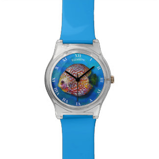 Psychedelic Colorful Exotic Discus Fish Drawing Wrist Watch