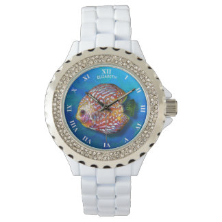 Psychedelic Colorful Exotic Discus Fish Drawing Wrist Watches
