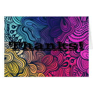 Psychedelic Colorful Loops Thank You Card