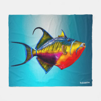 Psychedelic Colorful Triggerfish Fish Drawing Fleece Blanket