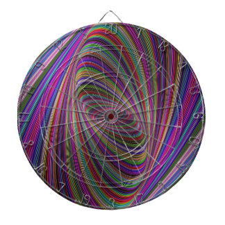 Psychedelic colors dartboard with darts