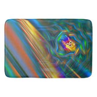 Psychedelic Colour Flow Lynx Portrait Bath Mat