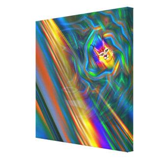 Psychedelic Colour Flow Lynx Portrait Canvas Print