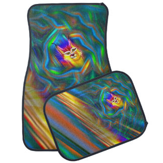 Psychedelic Colour Flow Lynx Portrait Car Mats Set