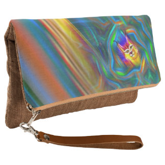 Psychedelic Colour Flow Lynx Portrait Clutch