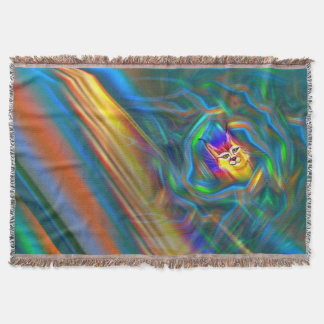 Psychedelic Colour Flow Lynx Portrait Throw Blanket