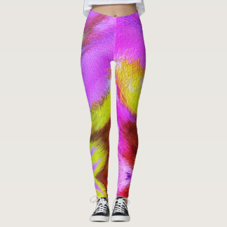Psychedelic Colourful Fur Pattern Leggings