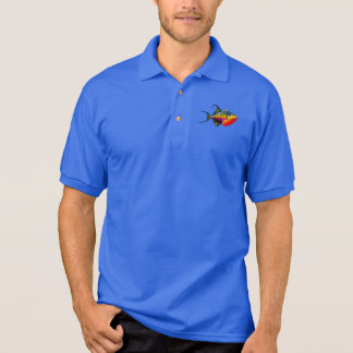 Psychedelic Colourful Triggerfish Fish Drawing Polo Shirt