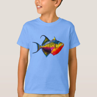 Psychedelic Colourful Triggerfish Fish Drawing T-Shirt