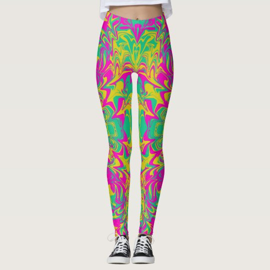 Psychedelic colours on custom leggings