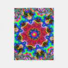 Psychedelic Cosmic Flower Fractal Fleece Blanket