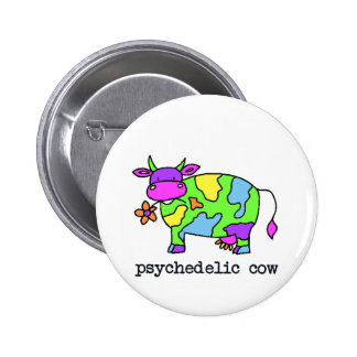 psychedelic cow 2 inch round button