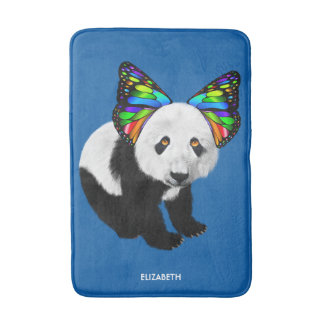 Psychedelic Cute Cool Panda With Butterfly Ears Bath Mat