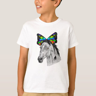 Psychedelic Cute Horse With Butterfly Ears Cool T-Shirt