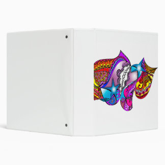 "Psychedelic Design on Avery White Binder, 1.5"" 3 Ring Binder"