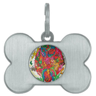 Psychedelic Dragon Pet Name Tags