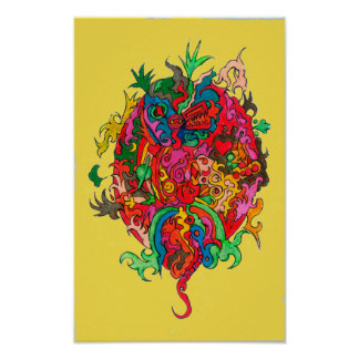 Psychedelic Dragon Poster