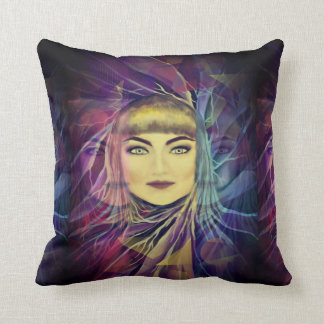 Psychedelic Dreamy Girl - Surrealism Painting Throw Pillow