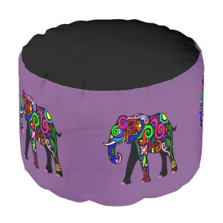 Psychedelic Elephant Foot Rest Pouf