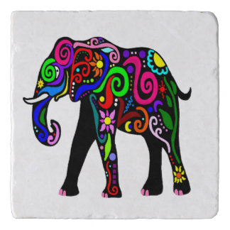 Psychedelic Elephant Trivet