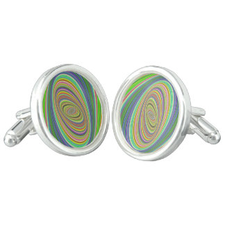 Psychedelic ellipse cuff links