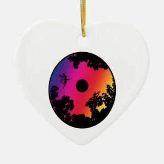 Psychedelic Faerie Moon Circle Ceramic Heart Ornament