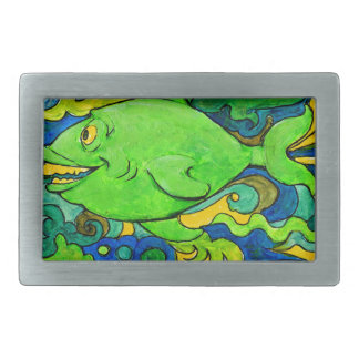 Psychedelic Fish Rectangular Belt Buckle