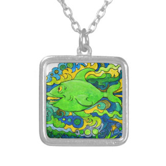 Psychedelic Fish Silver Plated Necklace