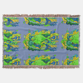 Psychedelic Fish Throw Blanket