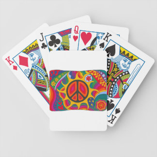 Psychedelic Flaming Peace Bicycle Playing Cards