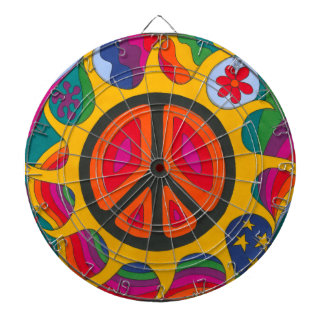 Psychedelic Flaming Peace Dartboards