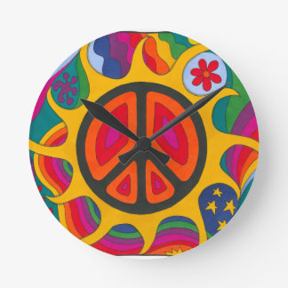Psychedelic Flaming Peace Wall Clocks
