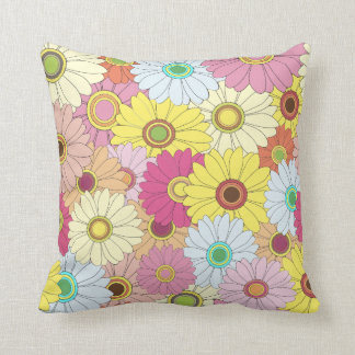 Psychedelic Floral Sunflowers Throw Pillow