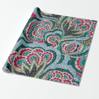 Psychedelic Floral with Glitter Effect Wrapping Paper