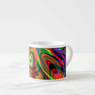 Psychedelic Florescent Abstract Twirls Espresso Cup