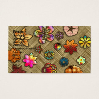 psychedelic flower basket weave business card