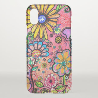 Psychedelic Flower Drawing iPhone X Case