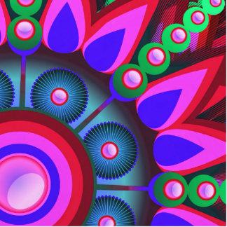 Psychedelic Flower Power Art Photo Sculpture Keychain