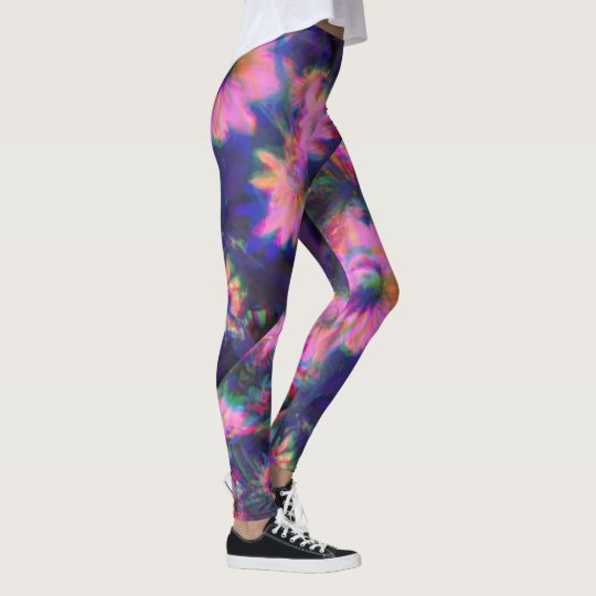Psychedelic flower tights leggings yoga pants