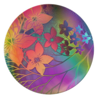 Psychedelic Flowers Plate